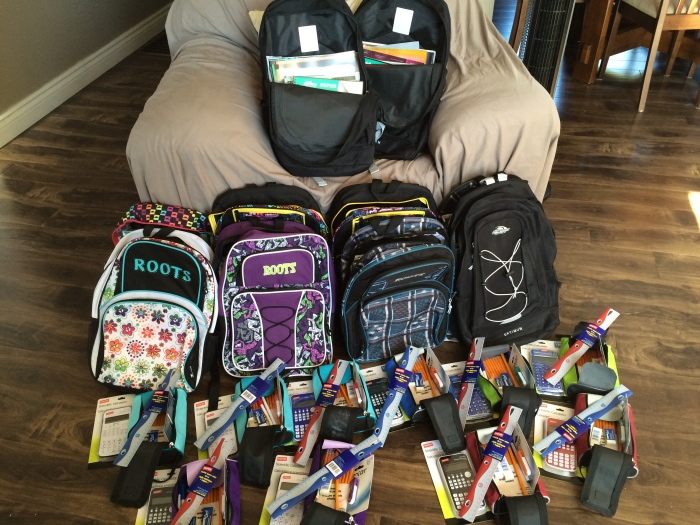 Backpacks and pencil cases filled with all the back-to-school goodies!